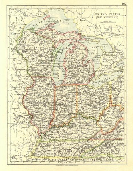 Associate Product USA MID WEST. Wisconsin Michigan Illinois Ohio Indiana Kentucky TN 1906 map