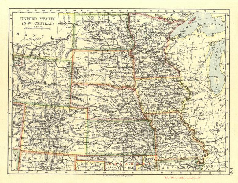 Associate Product USA PLAINS STATES. Iowa Minnesota Kansas NE ND SD Colorado.  JOHNSTON 1906 map