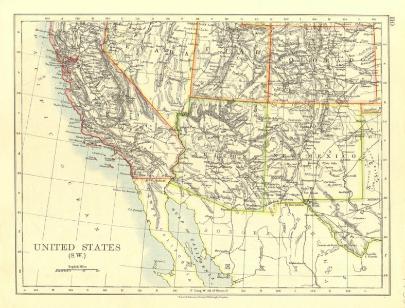 Associate Product USA SOUTH WEST. California Arizona NM Colorado Utah Nevada.  JOHNSTON 1906 map