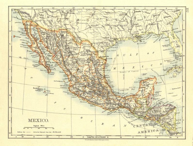 Associate Product MEXICO & Central America. Guatemala British Honduras &c.  JOHNSTON 1906 map