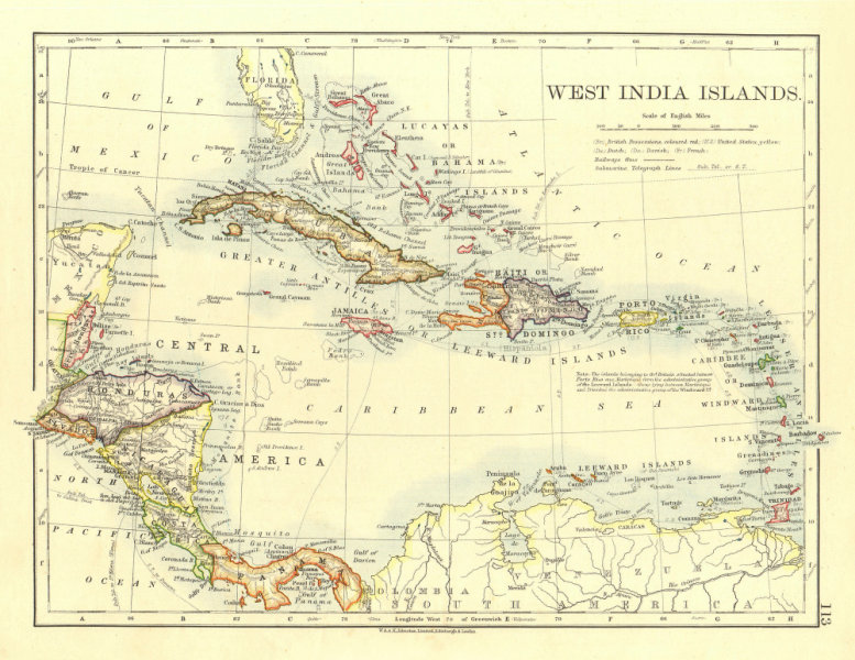 Associate Product WEST INDIA ISLANDS. Caribbean Lucayas Windward/Leeward Is.  JOHNSTON 1906 map