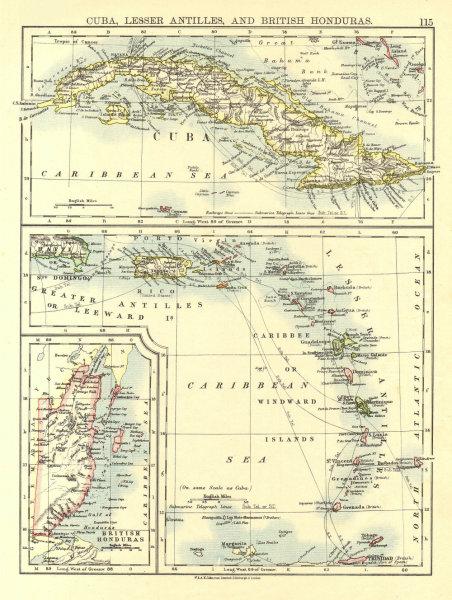 Associate Product CARIBBEAN ISLANDS.Cuba British Honduras Windward/Leeward.  JOHNSTON 1906 map