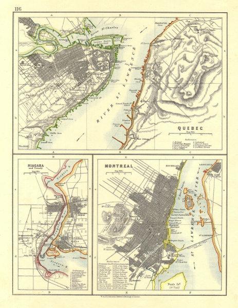 Associate Product CANADIAN CITIES.Quebec Montreal MontréalNiagara Falls plans.  JOHNSTON 1906 map