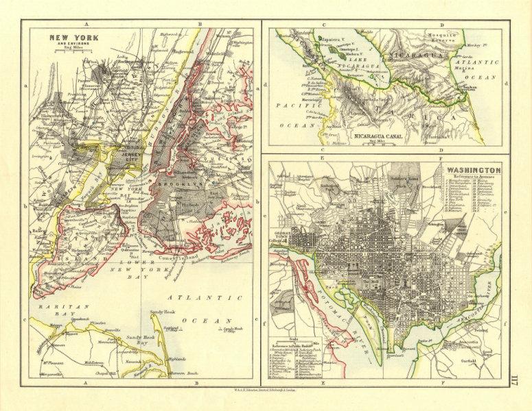 Associate Product US CITIES/NICARAGUA CANAL.New York & Washington plans.  JOHNSTON 1906 old map