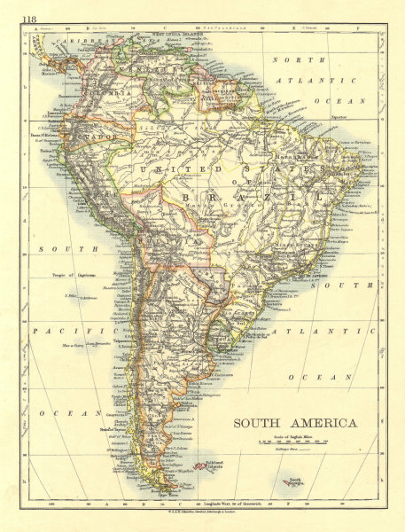 Associate Product SOUTH AMERICA. Bolivia includes Gran Chaco, now in Paraguay. JOHNSTON 1906 map
