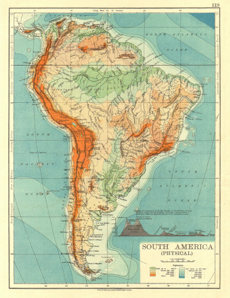 Associate Product SOUTH AMERICA PHYSICAL. Inset West-East cross section.  JOHNSTON 1906 old map