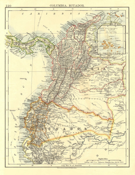 Associate Product ANDEAN STATES. Colombia Ecuador Panama. States. South America. JOHNSTON 1906 map