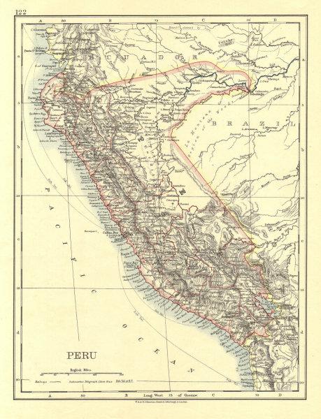 Associate Product PERU. Border as before Peru-Ecuador war (1941).  JOHNSTON 1906 old antique map
