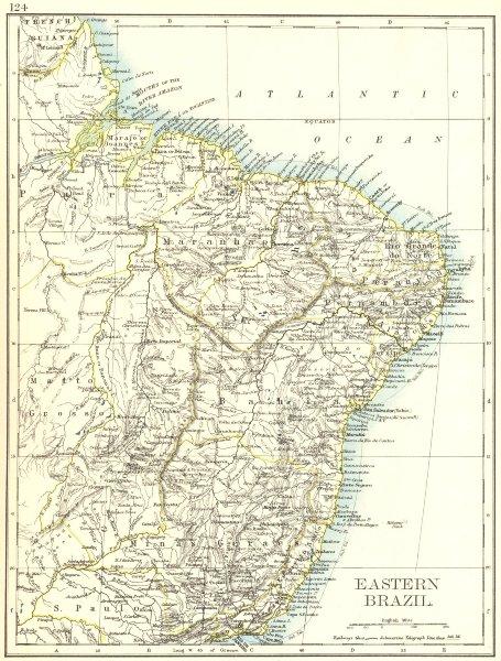 Associate Product EASTERN BRAZIL. Bahia Minas Gerais Pernambuco Marabhao.  JOHNSTON 1906 old map