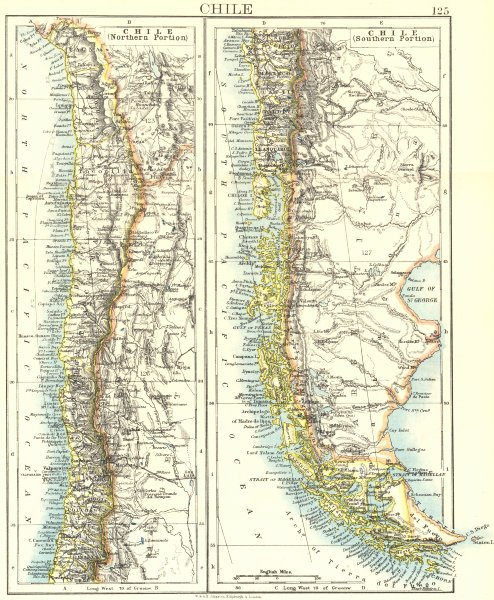 Associate Product CHILE. Patagonia Cape Horn Tierra del Fuego. Steamship routes. JOHNSTON 1906 map