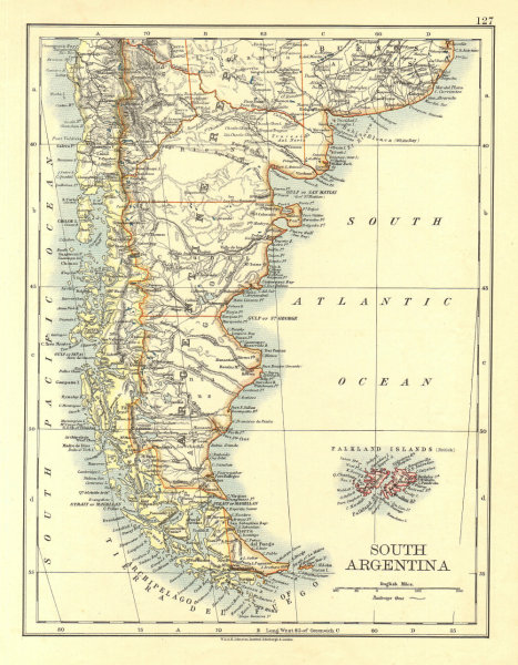 Associate Product PATAGONIA. Southern Argentina & Chile. Falkland Islands.  JOHNSTON 1906 map