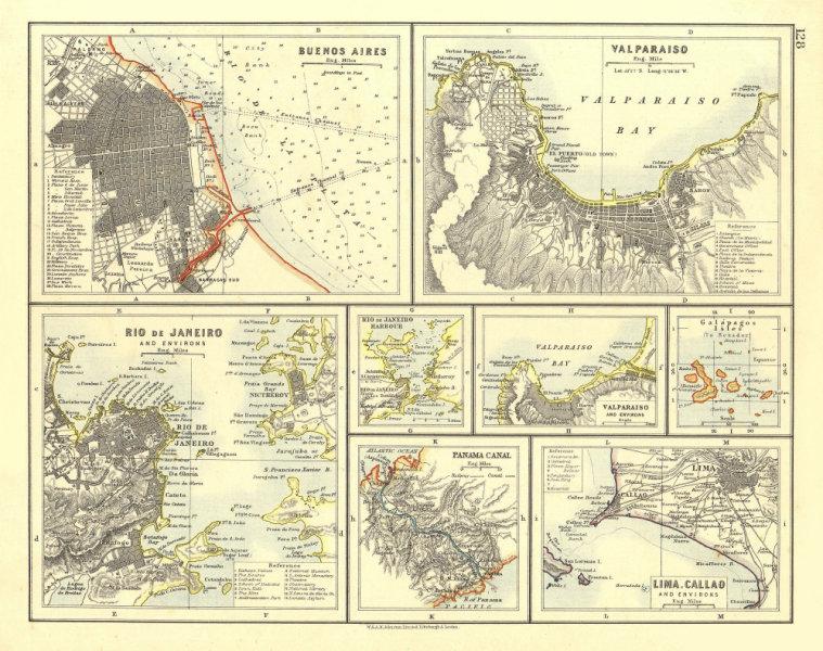 Associate Product S AMERICA CITIES. Buenos Aires Rio de Janeiro Valparaiso Lima. JOHNSTON 1906 map