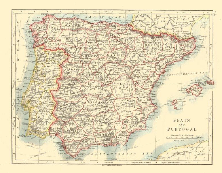 Associate Product SPAIN AND PORTUGAL. Iberia. Provinces railways. Balearics. JOHNSTON 1920 map
