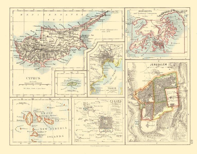 CYPRUS HONG KONG TOKYO PEKING JERUSALEM. City plans. Anzhu islands  1920 map