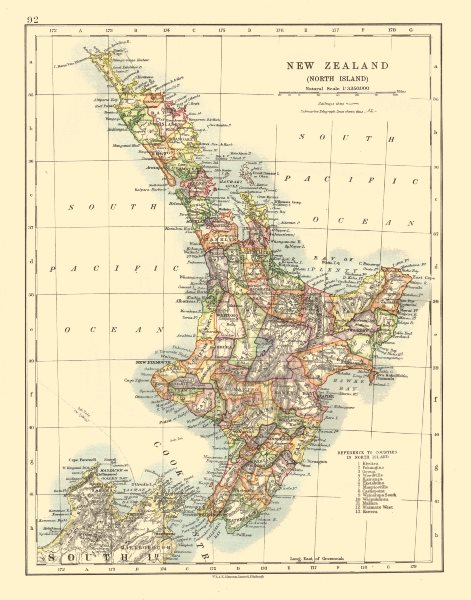 Associate Product NORTH ISLAND NEW ZEALAND. Showing counties telegraph cables. JOHNSTON 1920 map