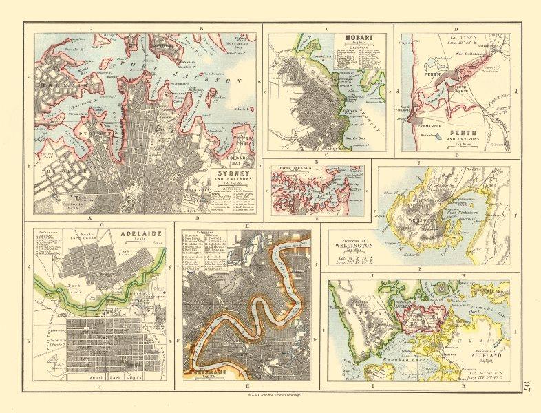 Map Of Australia Nz.Details About Australia Nz Cities Sydney Hobart Perth Adelaide Brisbane Auckland 1920 Map