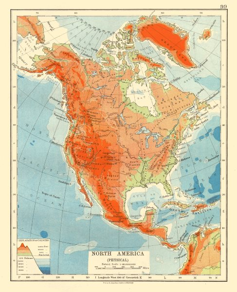 Associate Product NORTH AMERICA PHYSICAL. Relief. Key mountains heights. Ocean depths  1920 map