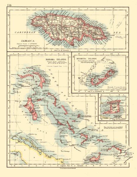 Associate Product CARIBBEAN/ATLANTIC ISLANDS.Jamaica Bermuda Bahamas Trinidad. JOHNSTON 1920 map