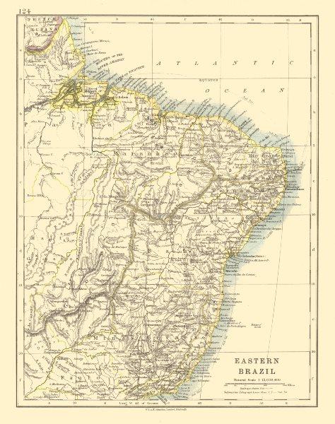 EASTERN BRAZIL. Bahia Minas Gerais Pernambuco Marabhao. JOHNSTON 1920 old map