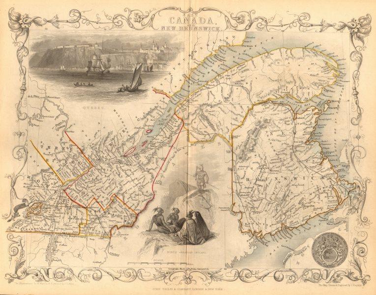 Associate Product 'EAST CANADA & NEW BRUNSWICK'. Quebec. Québec city view. TALLIS/RAPKIN 1849 map
