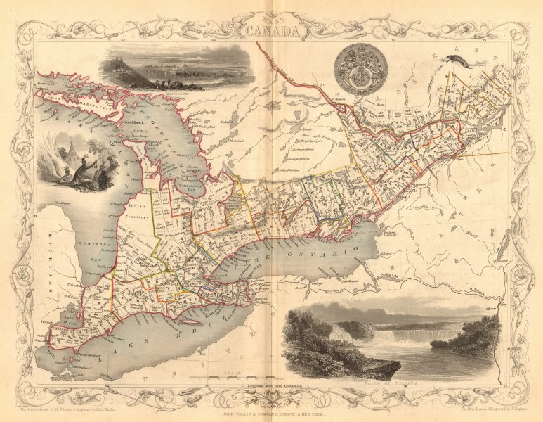 Associate Product 'WEST CANADA'. Southern Ontario. Shows'Indian territory' TALLIS/RAPKIN 1849 map