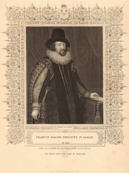 Associate Product BRITISH HISTORY. Francis Bacon, Viscount Alban. Philosopher. TALLIS 1849 print