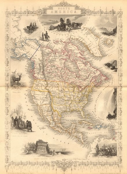 Associate Product NORTH AMERICA. 30 US states. Mexican California. TALLIS/RAPKIN 1849 old map