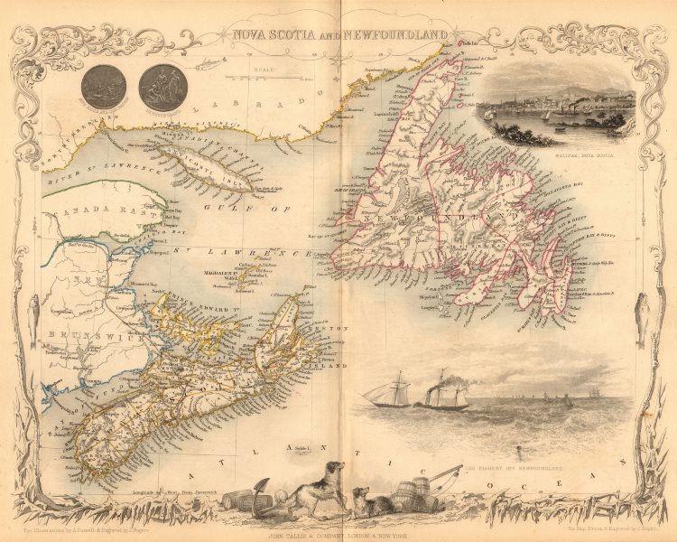 NOVA SCOTIA & NEWFOUNDLAND. Halifax view. Canada. PEI. TALLIS/RAPKIN 1849 map