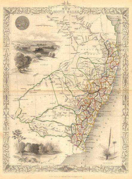 Associate Product NEW SOUTH WALES. Sydney vignette. Explorers routes.TALLIS/RAPKIN 1849 old map