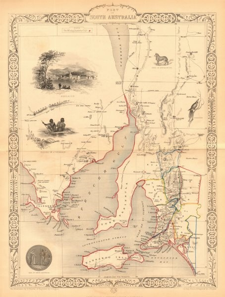 Associate Product 'PART OF SOUTH AUSTRALIA' Mining districts Adelaide view TALLIS/RAPKIN 1849 map