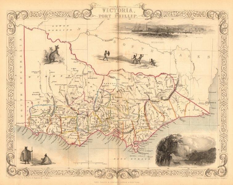 Associate Product 'VICTORIA OR PORT PHILIP'. Melbourne vignette. Australia.TALLIS/RAPKIN 1849 map