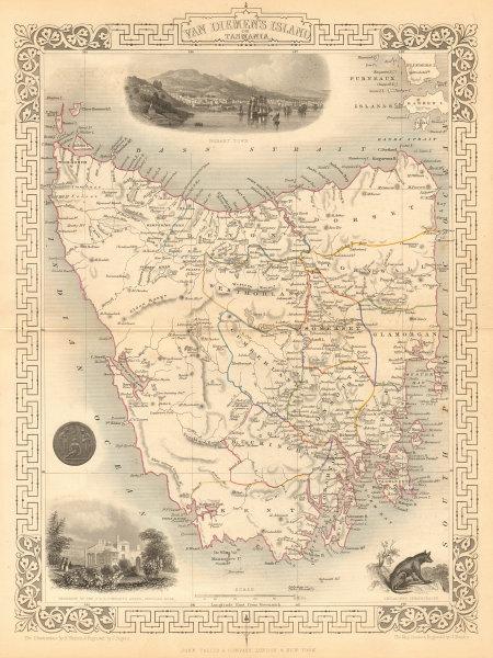 Associate Product VAN DIEMEN'S ISLAND OR TASMANIA. Shows extinct Thylacine.TALLIS/RAPKIN 1849 map