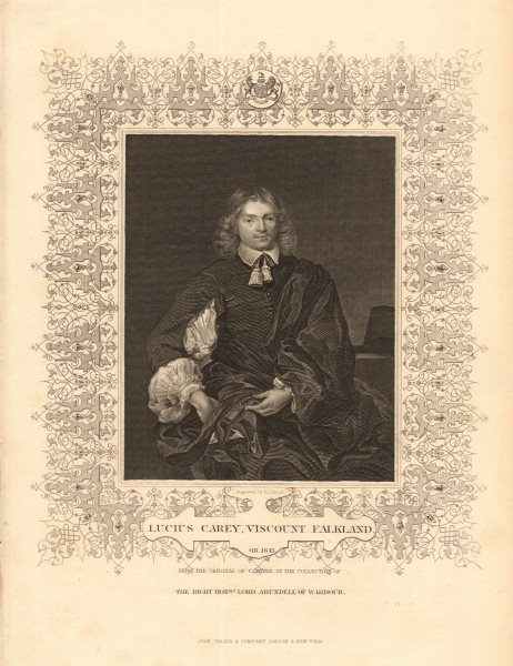 Associate Product BRITISH HISTORY. Lucius Carey, Viscount Falkland. English Civil War. TALLIS 1849