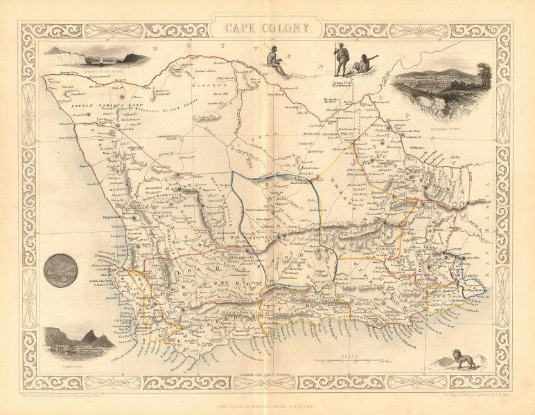 Associate Product CAPE COLONY. Cape Town & Grahamstown views. South Africa.TALLIS/RAPKIN 1849 map