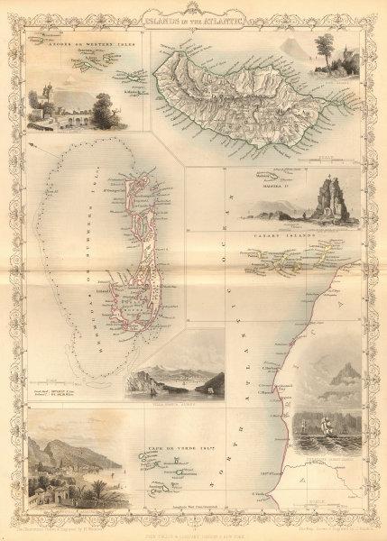 Associate Product ATLANTIC ISLANDS. Bermuda Madeira Canaries.Tenerife view.TALLIS/RAPKIN 1849 map