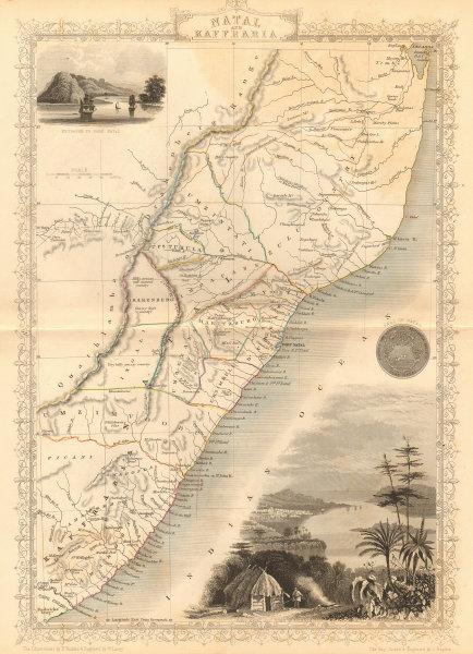 Associate Product 'NATAL & KAFFRARIA'. Eastern Cape. Durban. South Africa TALLIS/RAPKIN 1849 map
