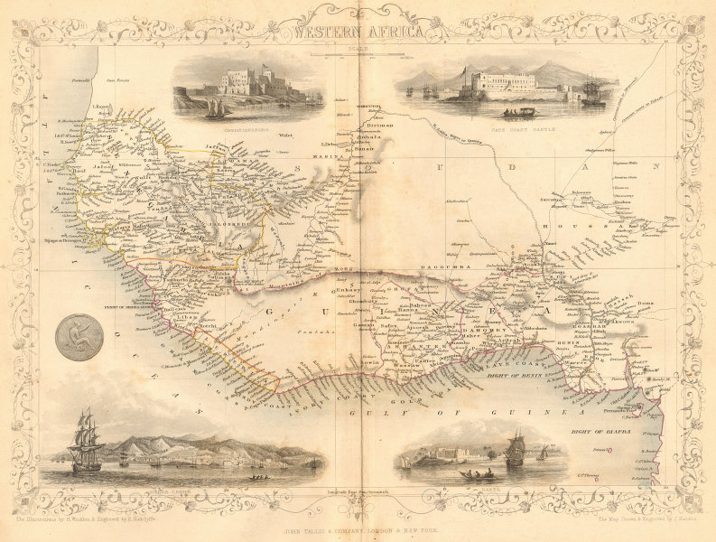 Associate Product WESTERN AFRICA.Kong Mountains.Caravan routes.Slave Coast.TALLIS/RAPKIN 1849 map