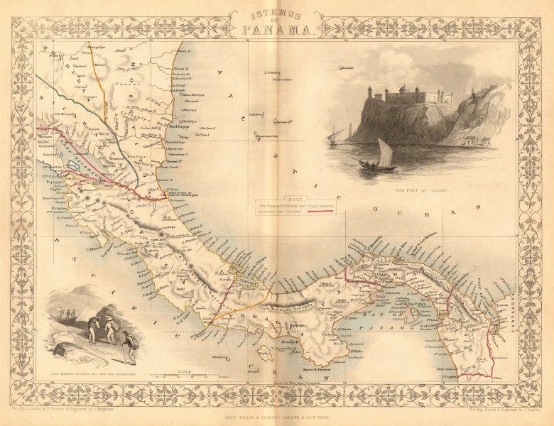 Associate Product PANAMA ISTHMUS. 5 proposed canal/Rail routes. Nicaragua.TALLIS/RAPKIN 1849 map