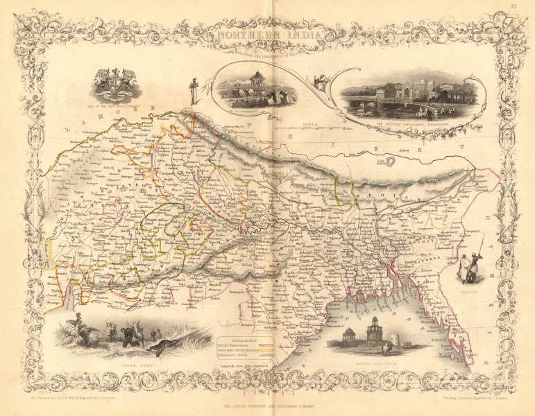 NORTHERN INDIA. British colonies &c. Nepal Bhutan Bengal.TALLIS/RAPKIN 1849 map
