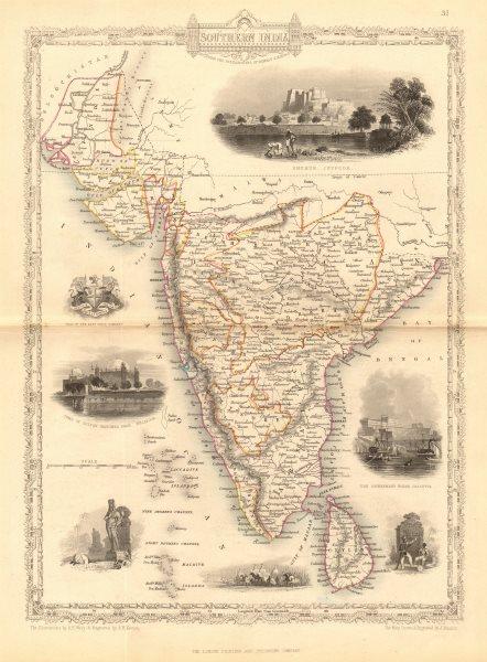 Associate Product SOUTHERN INDIA. Amber Fort, Jaipur & Gol Gumbaz, Bijapur.TALLIS/RAPKIN 1849 map