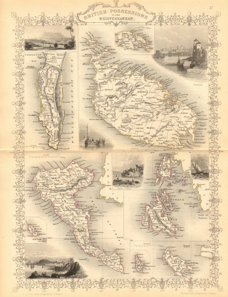 Associate Product MEDITERRANEAN. Gib Malta Corfu Zante Cephalonia Lefkada.TALLIS/RAPKIN 1849 map