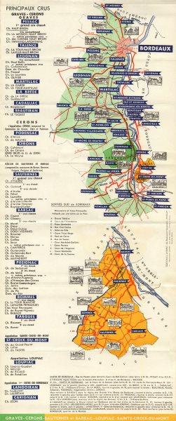 Associate Product BORDEAUX WINE TOURING MAP. Graves Cerons Sauternes Barsac Loupiac. LARMAT c1947