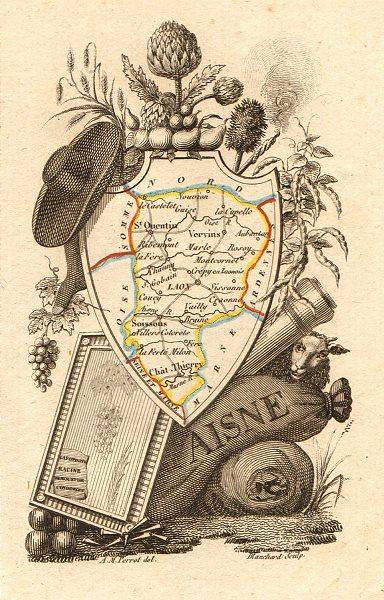 Associate Product AISNE département. Scarce antique map/carte by A.M. PERROT 1823 old