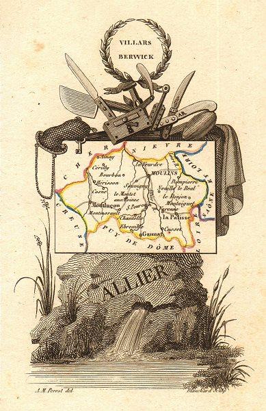 Associate Product ALLIER département. Scarce antique map/carte by A.M. PERROT 1823 old