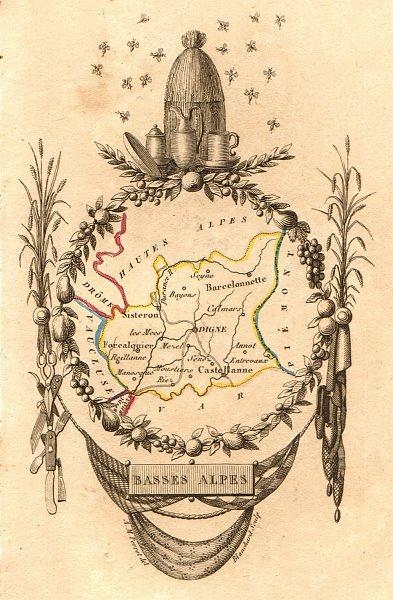 Associate Product ALPES-DE-HAUTE-PROVENCE département. 'Basses Alpes'. Scarce map. PERROT 1823