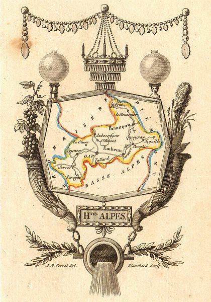 Associate Product HAUTES-ALPES département. 'Hautes Alpes'. Scarce map/carte by A.M. PERROT 1823