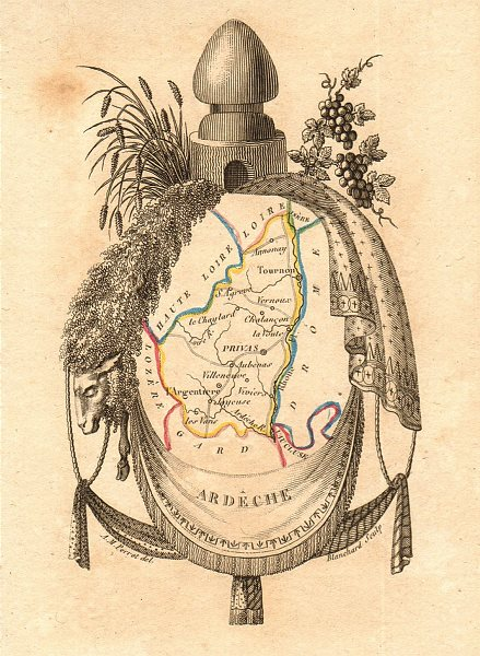 ARDÈCHE département. Scarce antique map/carte by A.M. PERROT 1823 old