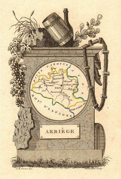 Associate Product ARIÈGE département. 'Arriège'. Scarce antique map/carte by A.M. PERROT 1823