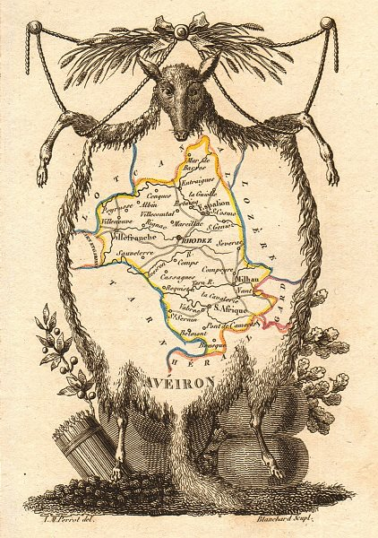Associate Product AVEYRON département. 'Avéiron'. Scarce antique map/carte by A.M. PERROT 1823