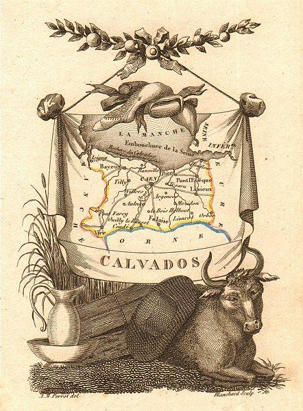 Associate Product CALVADOS département. Scarce antique map/carte by A.M. PERROT 1823 old